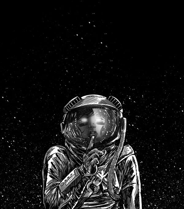 A woman in a space suit going hush as the stars and vaccum of space rests behind her.