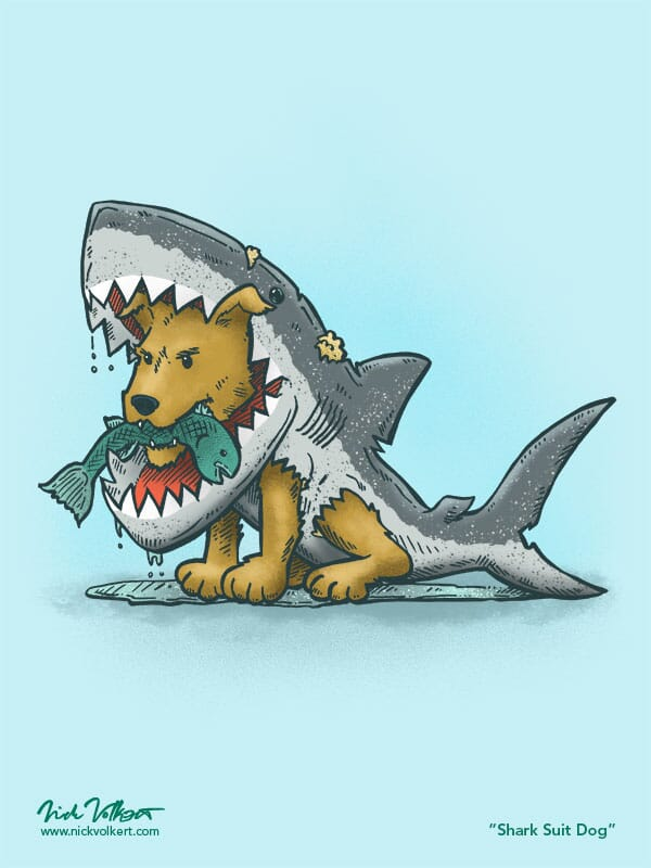 A small dog wearing a wet shark costume catches a fish.