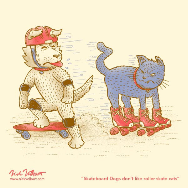 A dog and cat share sneers as they pass on rollerskates and a skateboard.