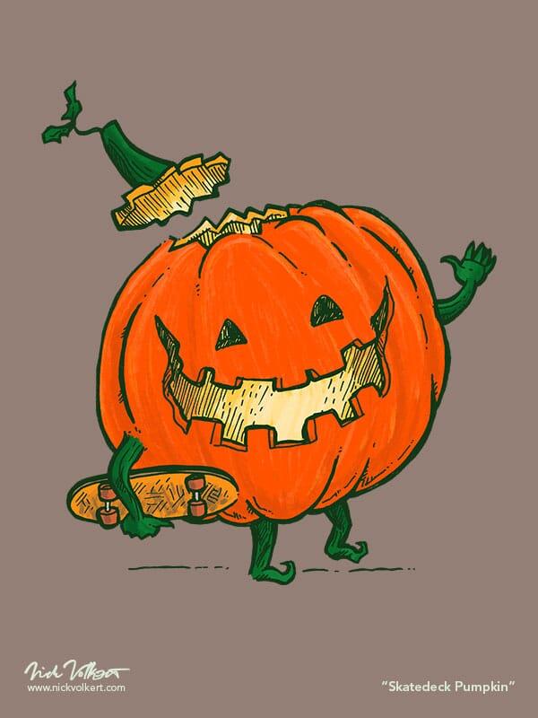 A sweet pumpking ready to skateboard