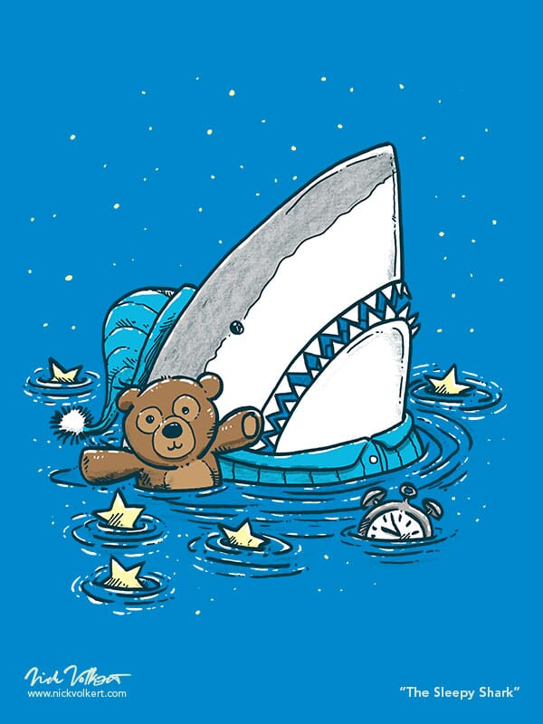A shark in water with his teddy, pajamas; surrounded by stars floating in the water
