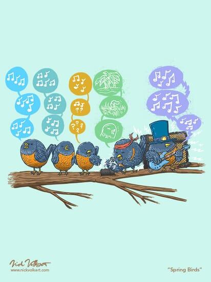 A collection of birds sing songs of Spring, a couple birds sing heavier