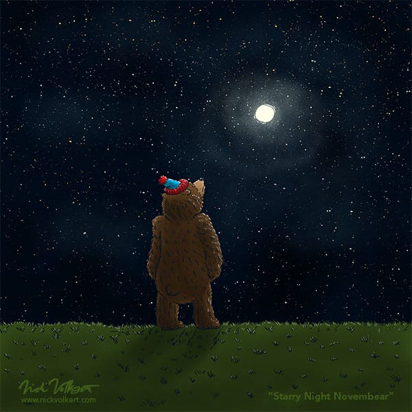 A bear looks up at a full moon during a starry night.