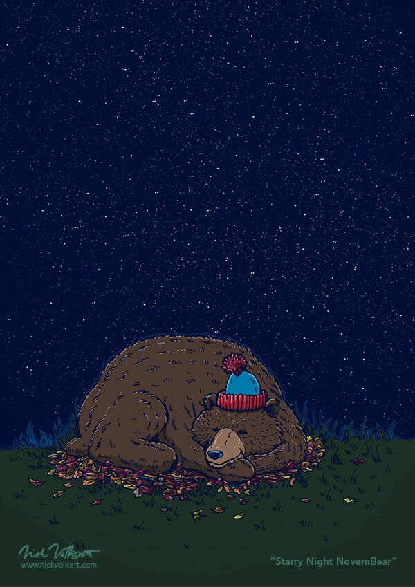 A bear with a stocking cap sleeps under a starry night sky.