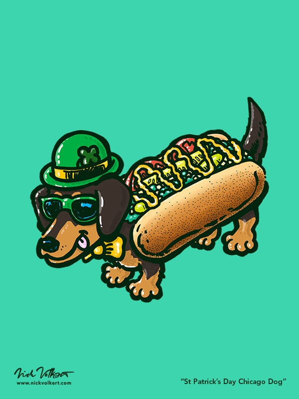 A Chicago Dog is dressed in green for St Patrick's Day.