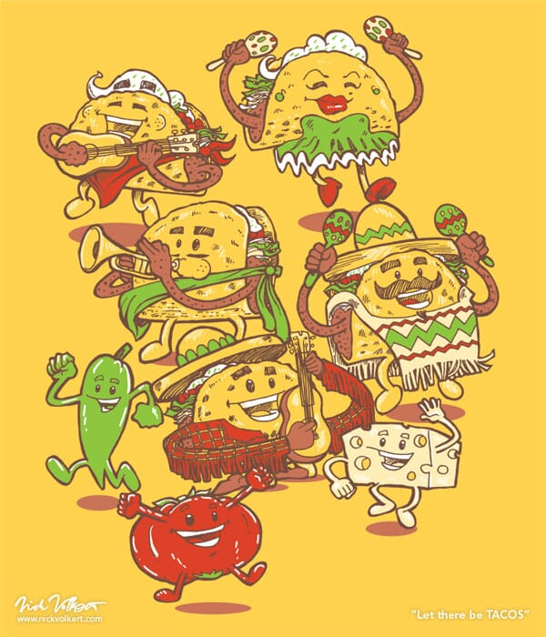 Hard shell tacos, taco ingredients including tomatoes, cheese, and jalepenos, singing and dancing.