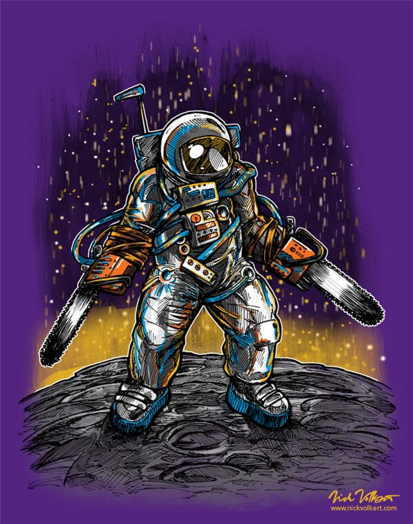 An astronaut in space with chainsaws for hands standing on the moon.