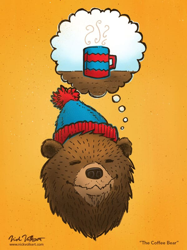 A bear in a stocking cap is dreaming of hot coffee.