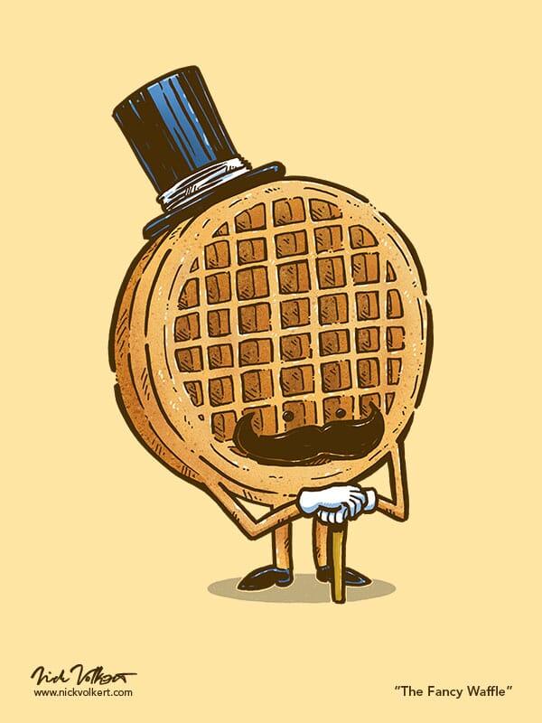 A waffle dressed up in formal wear attending breakfast. Also has a sweet mustache.