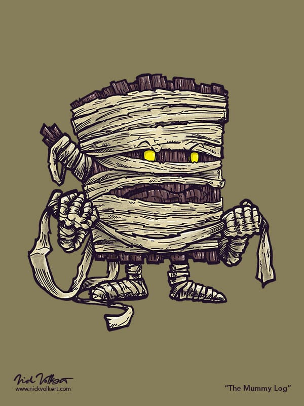 A log wrapped in mummy fabric is super confused.