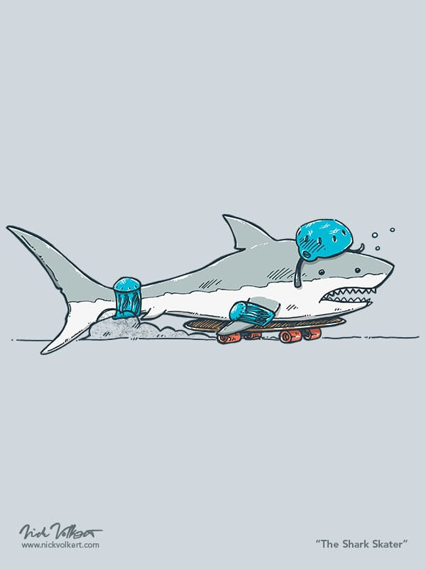 A shark is out of water and bodying a skateboard while wearing a helmet