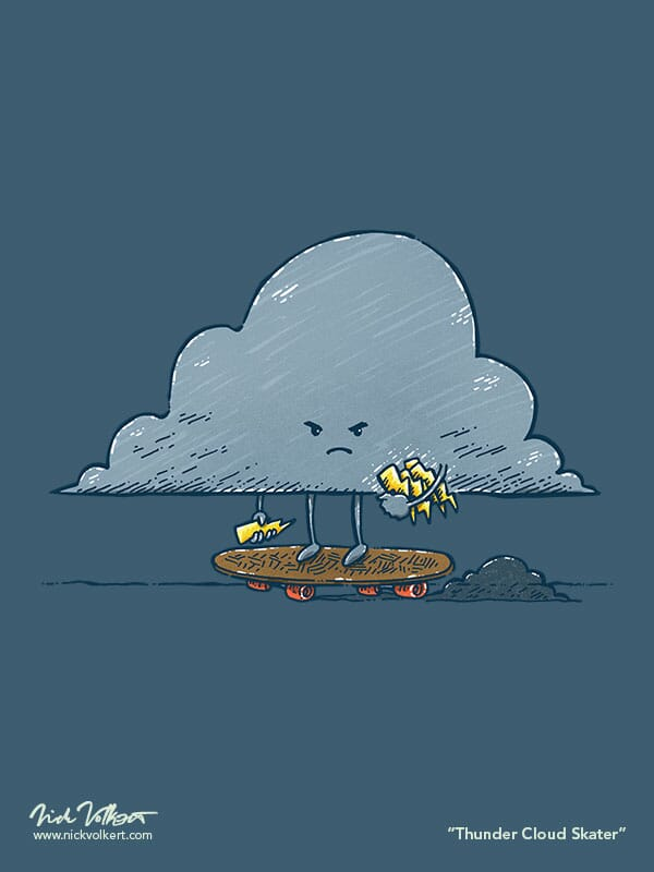 An angry cloud is ready to storm, riding a skateboard, and has an arm full of lightning bolts