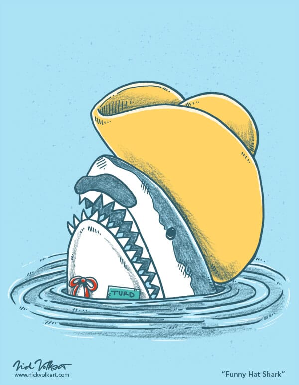 A shark pops out of the water with a foam hat and mustache.