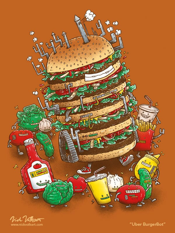 A large robot travels with ketchup, mustard, and burger condiment pals.