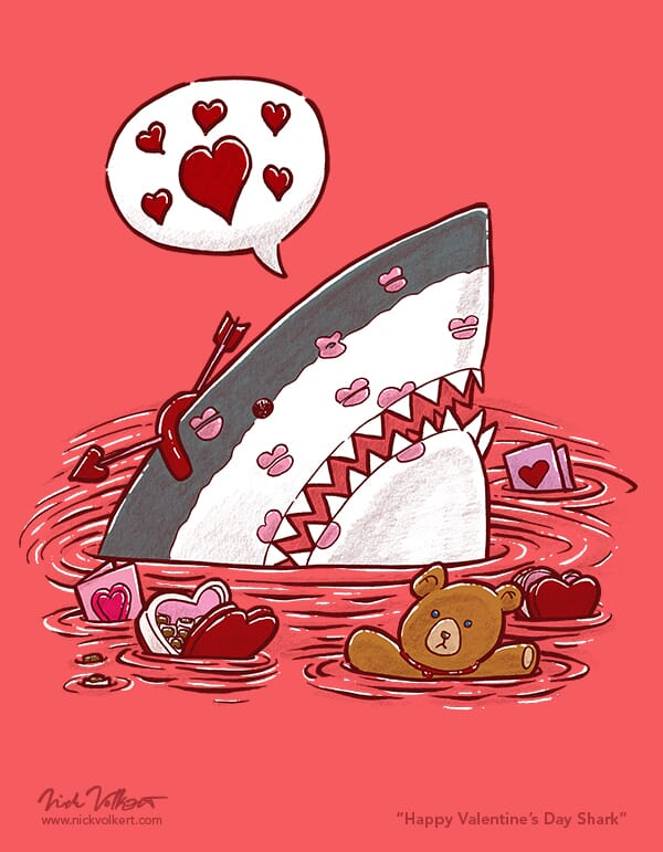 A shark peeks out of the water covered in kisses and wearing an arrow through its head headpiece.