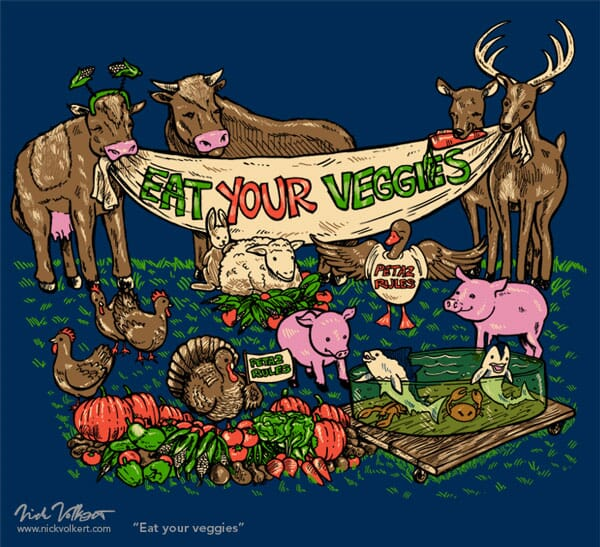 A group of farm animals holding a sign for your to eat your veggies instead of them!
