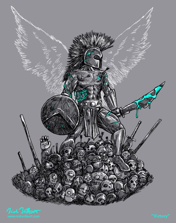 A victorious warrior stands above a pile of bodies.