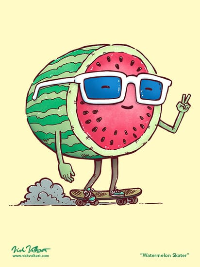 A watermelon wearing sunglasses rides a skateboard while giving the 'peace' sign.