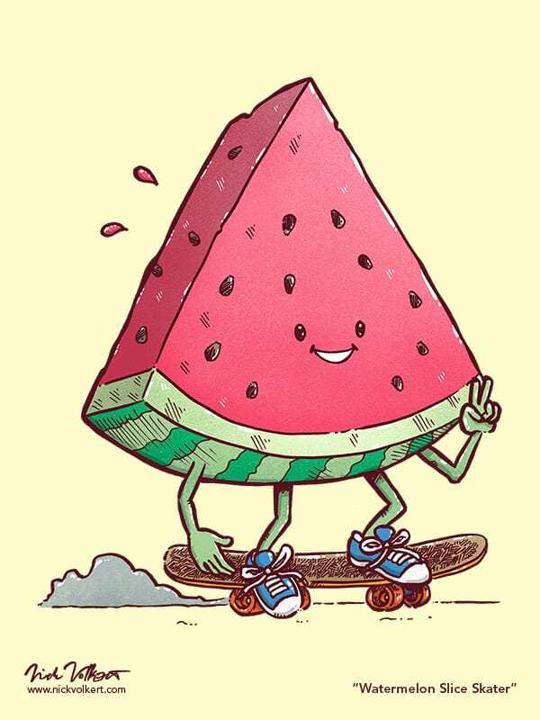 A triangle-shaped slice of a watermelon cruises on a skateboard while showing a peace sign
