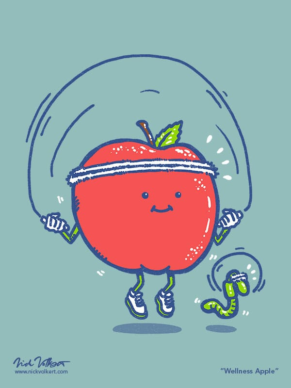 An apple and its worm do jumpropes together.