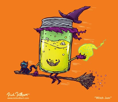 A jar that looks like a witch flies by with her cat on her broom.
