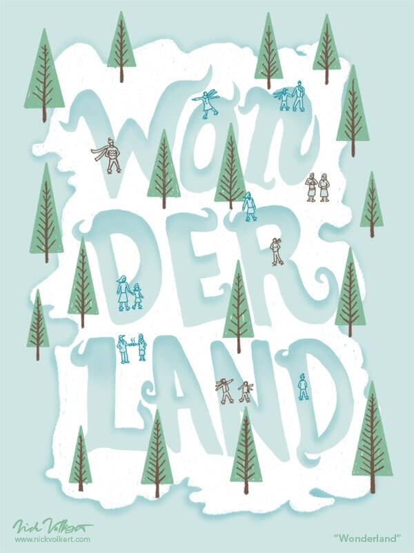 A small ice skating park that the ice is in the text 'wonderland'.