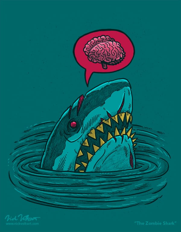 A shark pops out of the water that is a zombie.