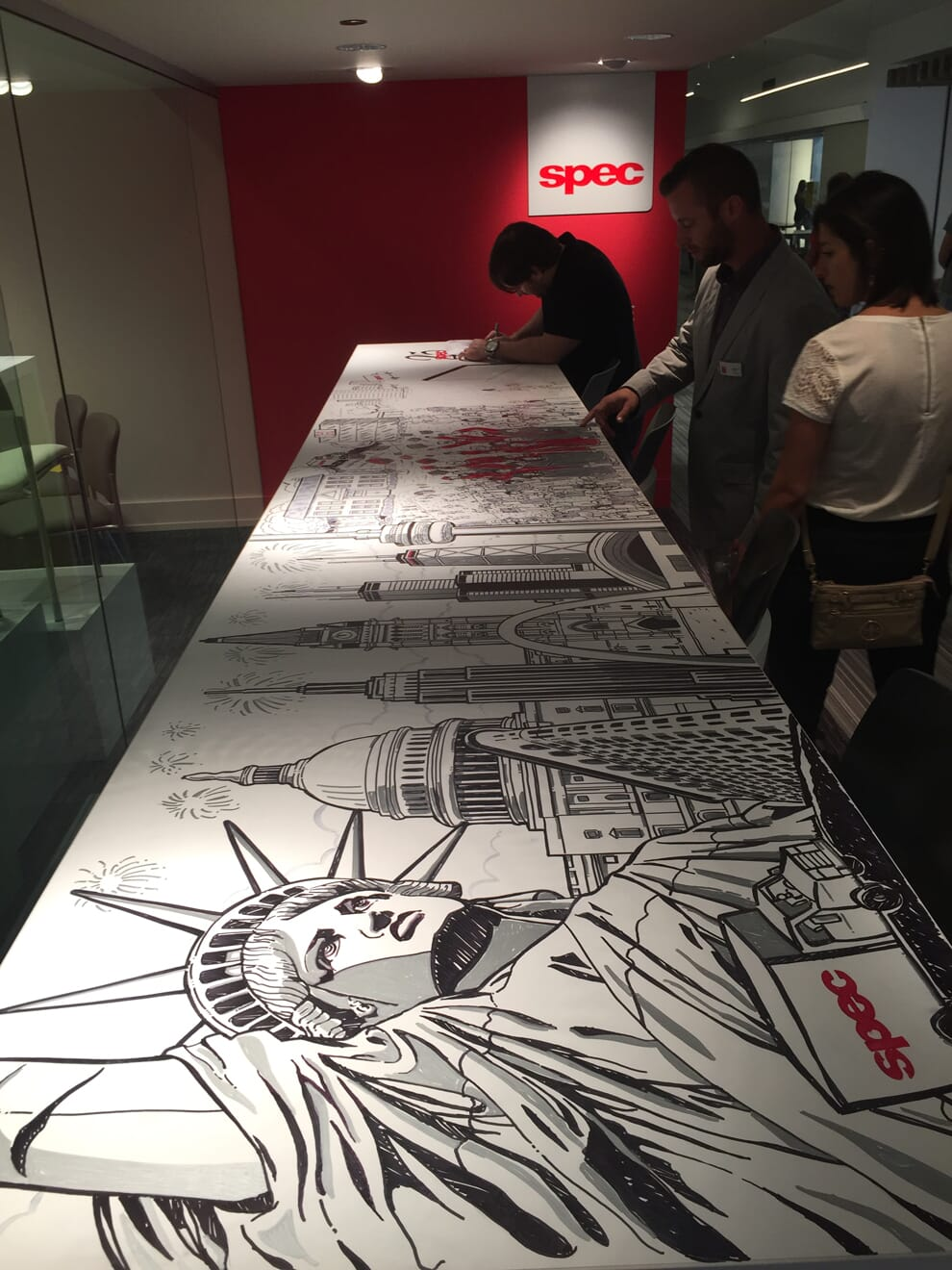 Mural progress for Spec Furniture in the Merchandise Mart