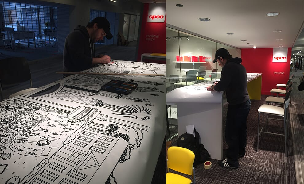 Setting up mural for Spec Furniture in the Merchandise Mart