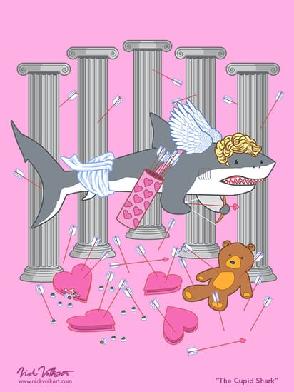 A shark dressed as cupid surrounded by assorted Valentines chocolates and gifts.