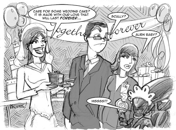 A newly wed woman asks the dinner party some questions.