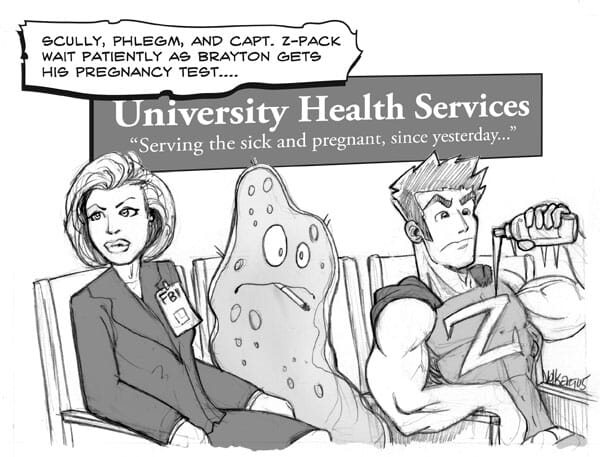 A hospital waiting room with germs and Scully from X-Files.